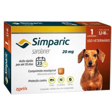 Simparic 20 mg para Cães 5,1 a 10 Kg