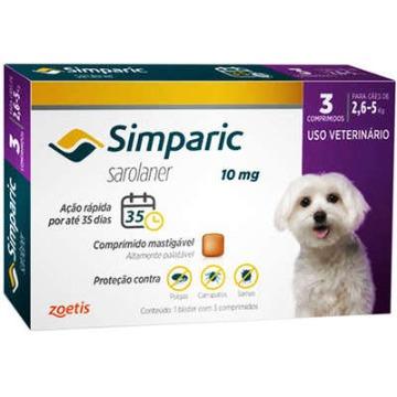 Simparic 10 mg Antipulgas Zoetis para Cães 2,6 a 5 Kg