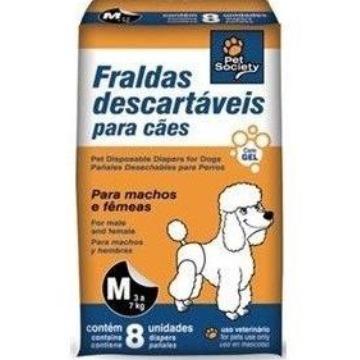 Fraldas descartáveis para cães Pet Society - tam. M ( 3 a 7 kg)