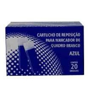 Kit1-Dois Marcadores Qdo Branco Azul + Vinte Refis Azul