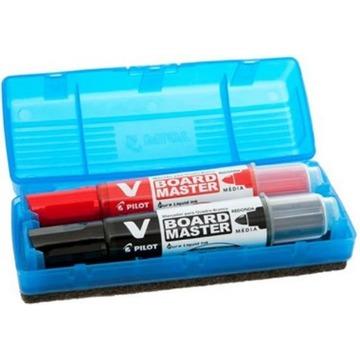 Kit Apagador, Pincel Marcador Quadro Branco 02 Cores Preto/Vermelho