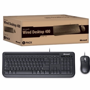 Microsoft Teclado   Mouse USB Wired Desktop 400 Preto 5MH-00007