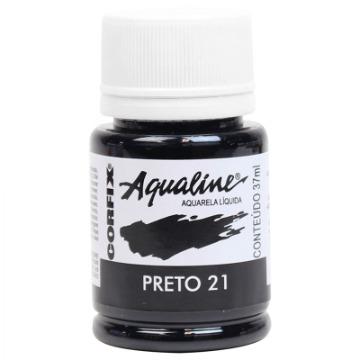 20037 - AQUARELA LÍQUIDA - AQUALINE - PRETO 21 -  37ML - CORFIX