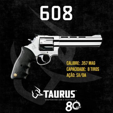 "REVOLVER TAURUS .357 MAG RT608 8TIROS 6,5"" INOX AUTO BRILHO"