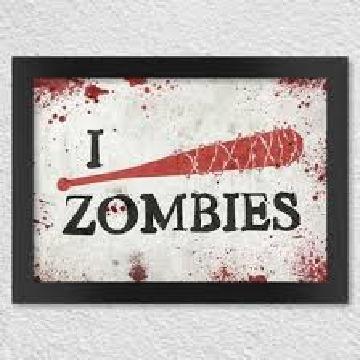Poster com moldura - I kill zombies taco de baseball