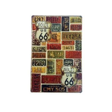Placa de metal decorativa - Route 66