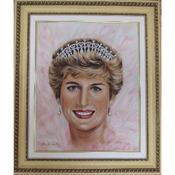 Quadro 40x50 `Princesa Diana` Óleo sobre Tela com Moldura