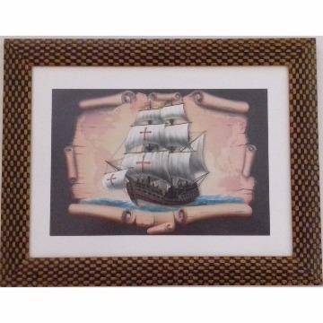 Gravura 36x46 `Barco` com Moldura