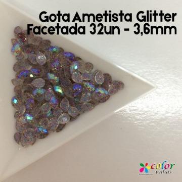 Gota Ametista Glitter Facetada 32un - 3,6mm