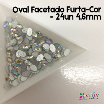 Oval Facetado Furta-Cor - 24un 4,6mm