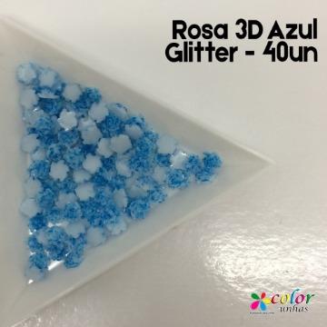 Rosa 3D Azul Glitter - 40un