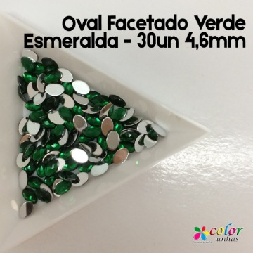 Oval Facetado Verde Esmeralda - 30un 4,6mm