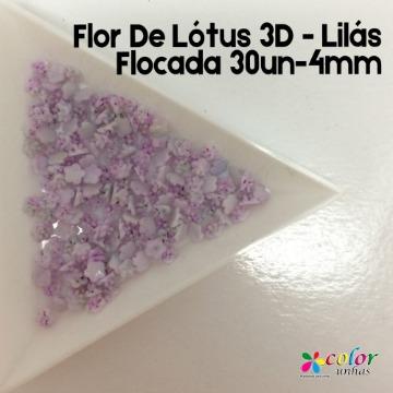 Flor De Lótus 3D - Lilás Flocada 30un-4mm