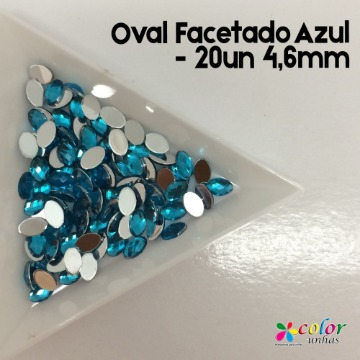 Oval Facetado Azul - 20un 4,6mm