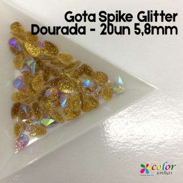 Gota Spike Glitter Dourada - 20un 5,8mm