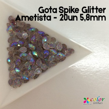 Gota Spike Glitter Ametista - 20un 5,8mm