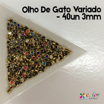 Olho De Gato Variado - 40un 3mm