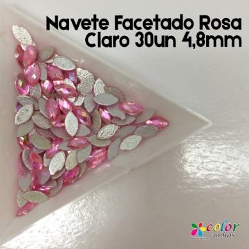 Navete Facetado Rosa Claro 30un 4,8mm