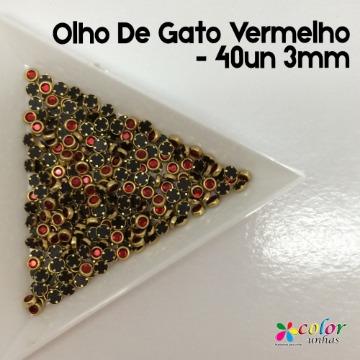 Olho De Gato Vermelho - 40un 3mm