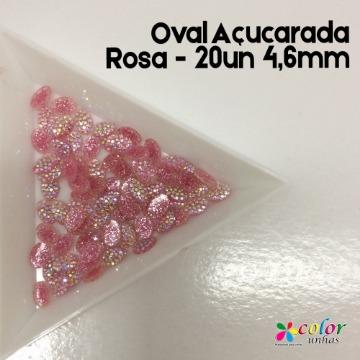 Oval Açucarada Rosa - 20un 4,6mm