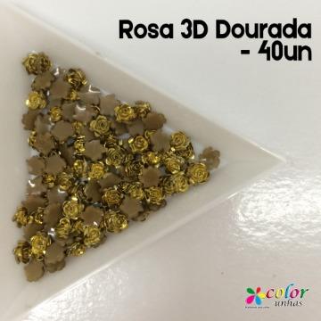 Rosa 3D Dourada - 40un