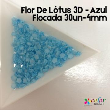 Flor De Lótus 3D - Azul Flocada 30un-4mm