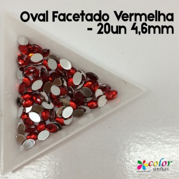 Oval Facetado Vermelha - 20un 4,6mm