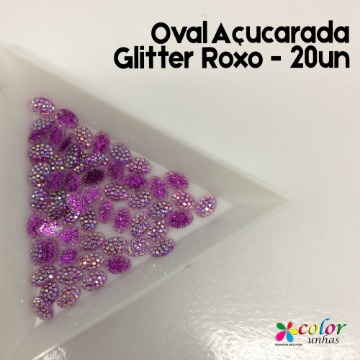 Oval Açucarada Glitter Roxo - 20un