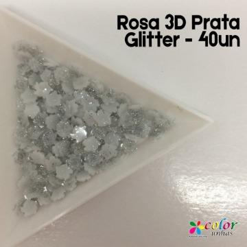 Rosa 3D Prata Glitter - 40un
