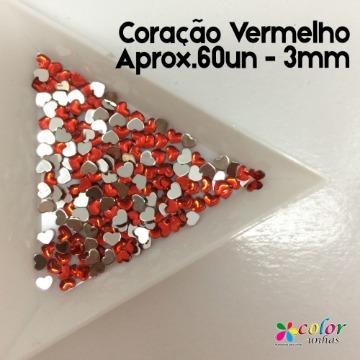 Coração Vermelho Aprox.60un - 3mm