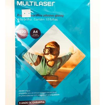Papel Fotografico Multilaser Adesivo 220GM2 10 Fls A4 PE001 PE001