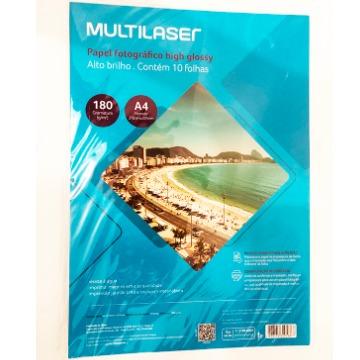 Papel Multilaser Fotografico Glossy A4 180G/M2 10Fls - PE030 PE030