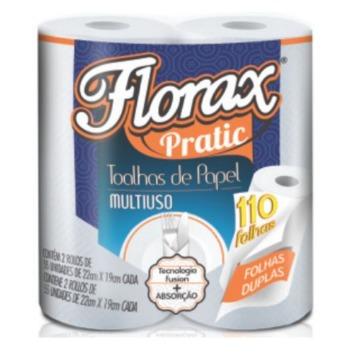 Papel Toalha Bobina Florax Pratic Multiuso 2 Rolos 110 Folhas19x22cm