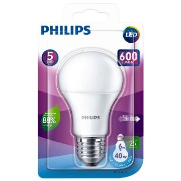 Lâmpada LED - 6W / E27 / Branca (600 Lumens) / Bivolt - Philips (25.000h)