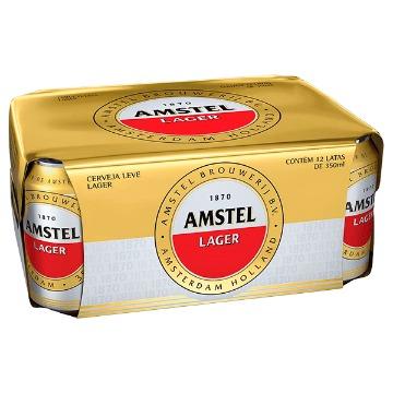 Cerveja Amstel Pilsen Lager 350ml - 12 Unidades Gelada