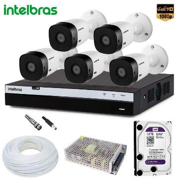 Kit 5 Câmeras Intelbras VHL 1220 Com Gravador MHDX 3108 Full HD Completo Com HD p/ Gravação de 1TB