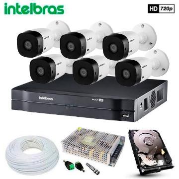 Kit 6 Câmeras de Segurança Intelbras HDCVI Completo c/ DVR 8 Canais MHDX 1108 Intelbras com HD p/ Gravação de 1TB