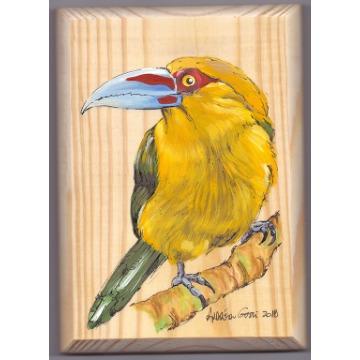 Araçari-banana - arte em madeira Bio & Mãe Terra