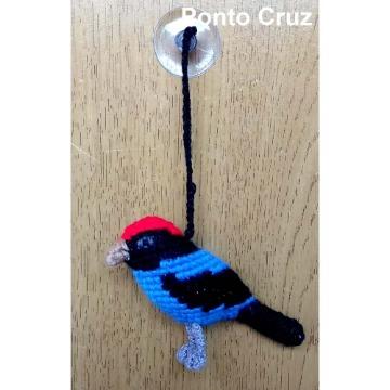 Tangará - miniatura com ventosa Pássaros Caparaó ponto-cruz