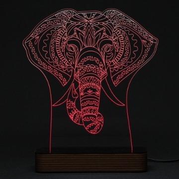 Elefante Indiano - Luminária Acrílico e Led