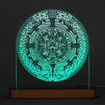 Calendário Asteca (Pedra do Sol) - Luminária Acrílico e Led