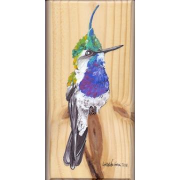 Beija-flor-de-topete - arte em madeira Bio & Mãe Terra