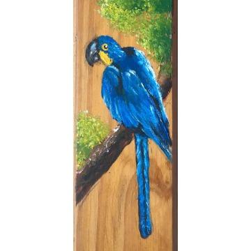 Arara-azul - taco de madeira