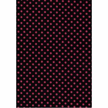 Tecido -  E491 - Preto c/ Bolas Vermelhas  - Termocolante Fast Patch